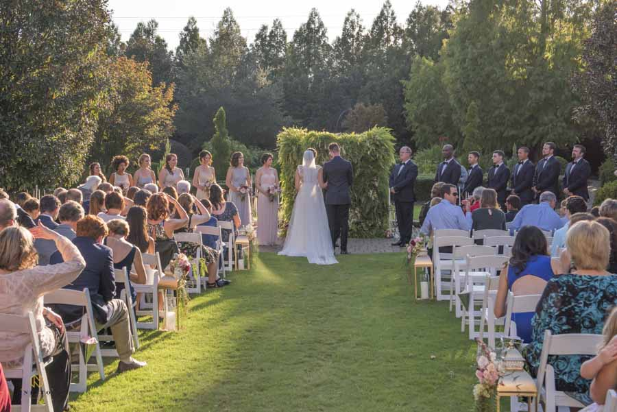 Hall at Landmark wedding ceremony in the late afternoon