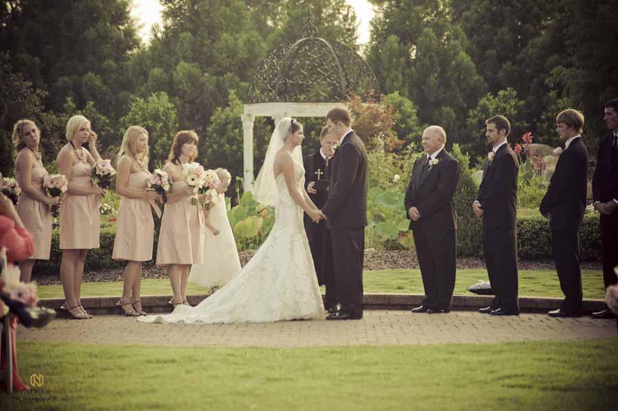 Hall at Landmark wedding ceremony with wedding party