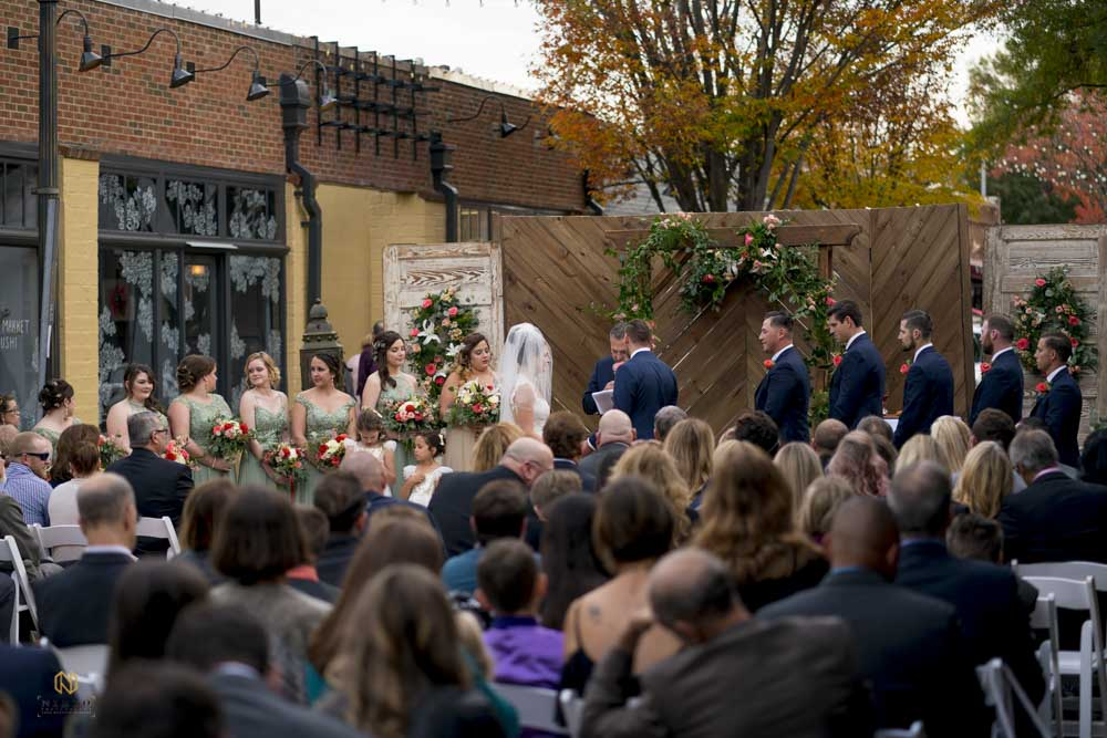 outdoor shot at a Market Hall wedding ceremony in downtown Raleigh