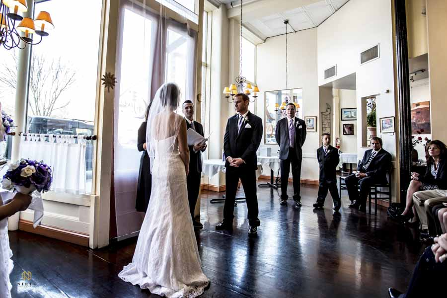 Caffe Luna wedding ceremony at the front door