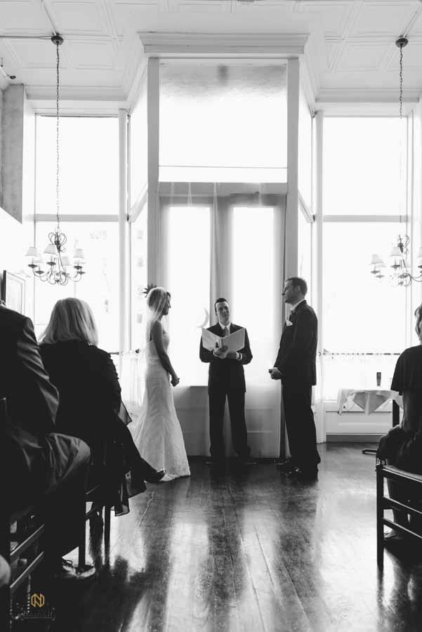 black and white image of a Caffe Luna wedding ceremony