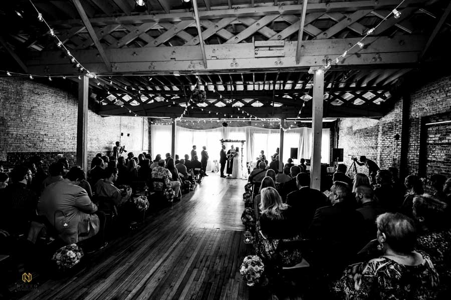 black and white image of a Stockroom at 230 wedding ceremony