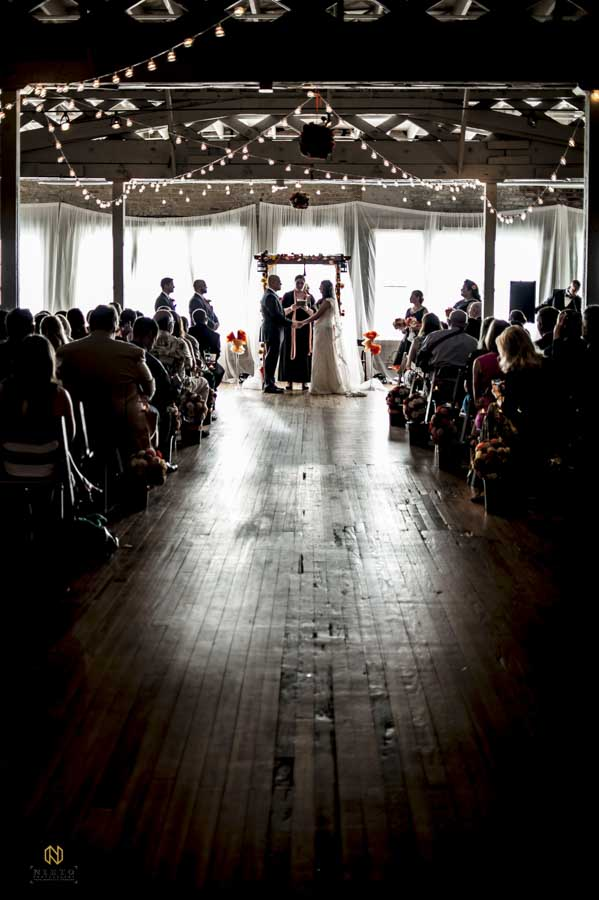 wedding ceremony at the Stockroom at 230