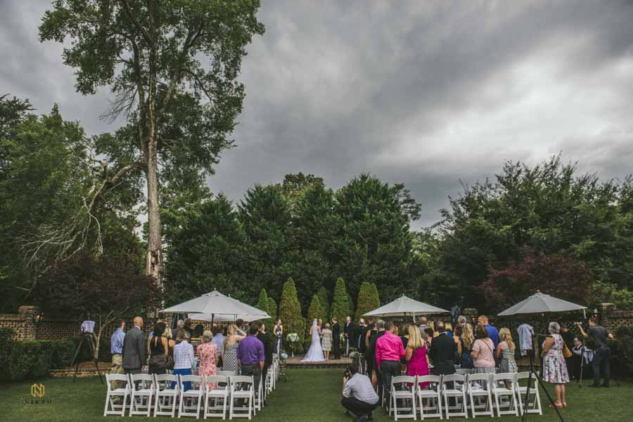 overcast sutherland wedding ceremony in the walled garden
