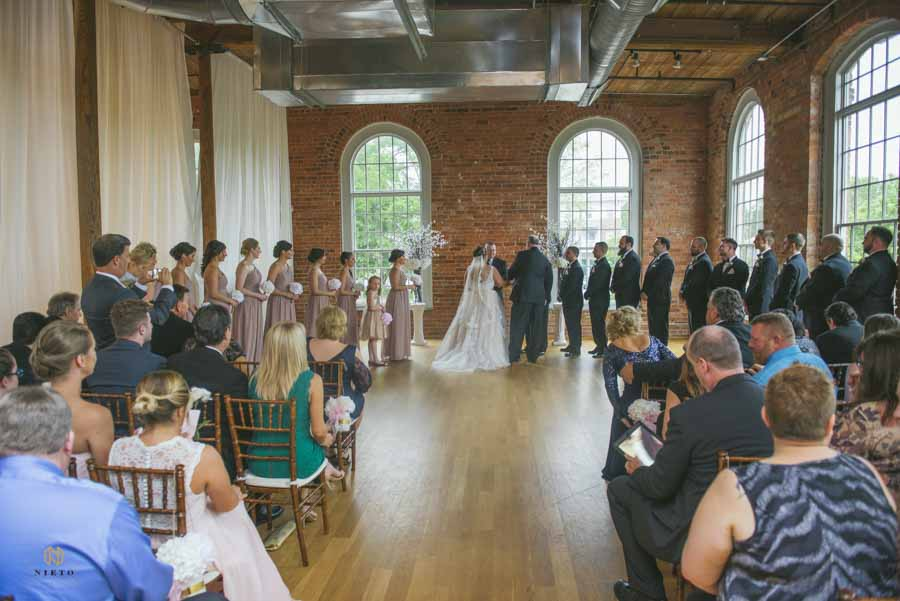 wide shot of a cotton room wedding ceremony