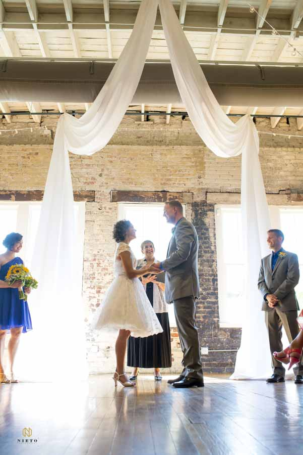 simple urban decoration wedding ceremony at the Stockroom at 230
