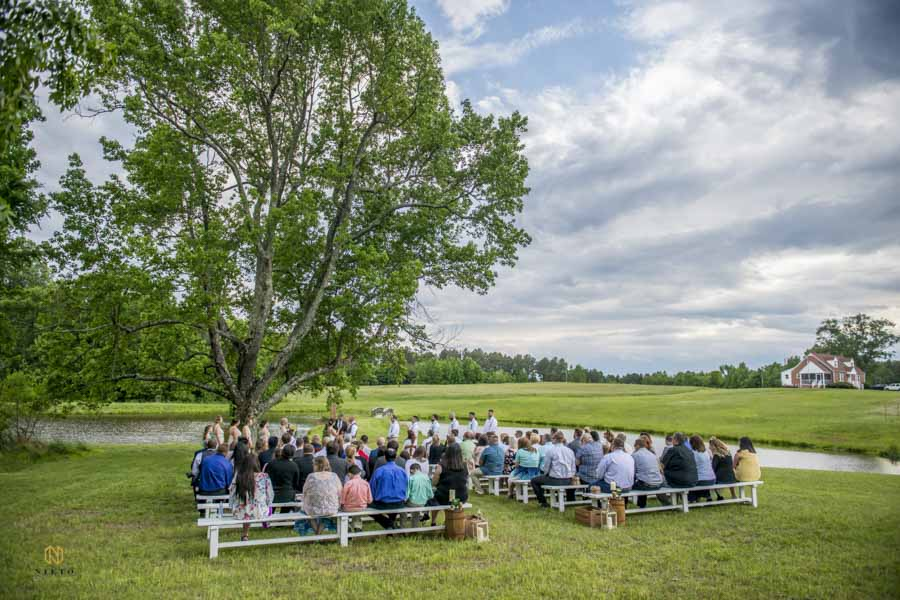 wide view of a wedding ceremony at Vino Oasi