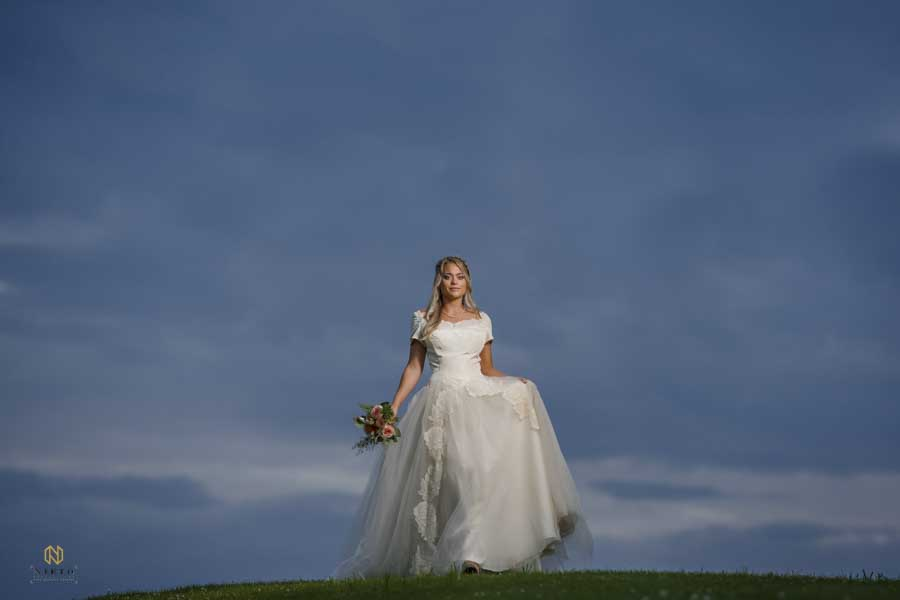 Raleigh Bridal portrait on top of hill with dark blue sky behind the bride