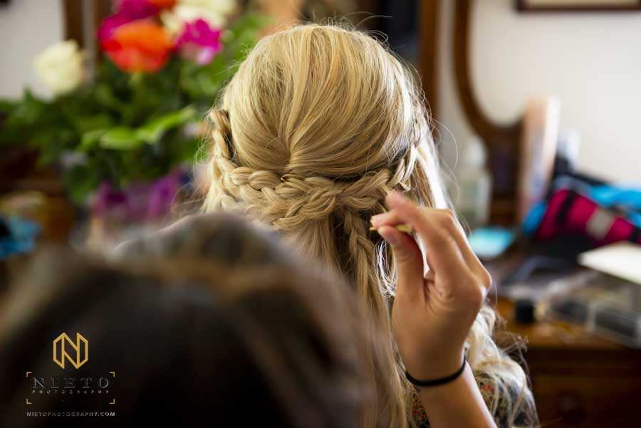 detail shot of the brides hair braids