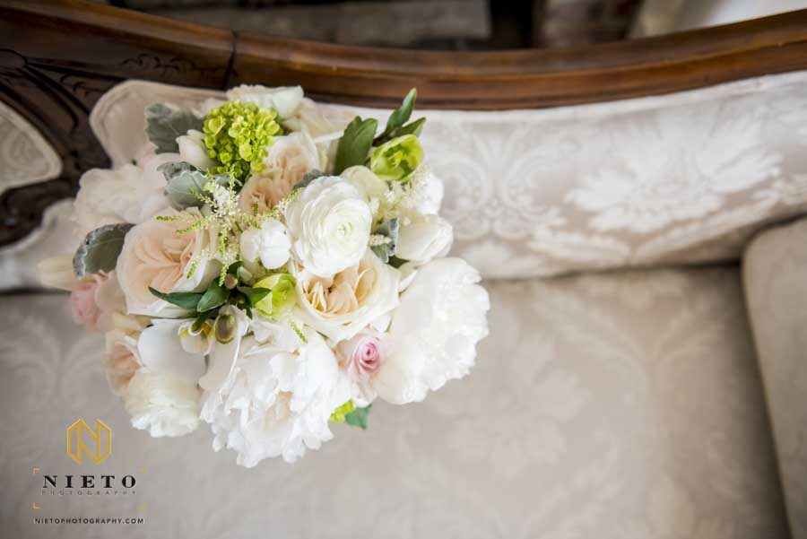 over head view of a bridal bouquet