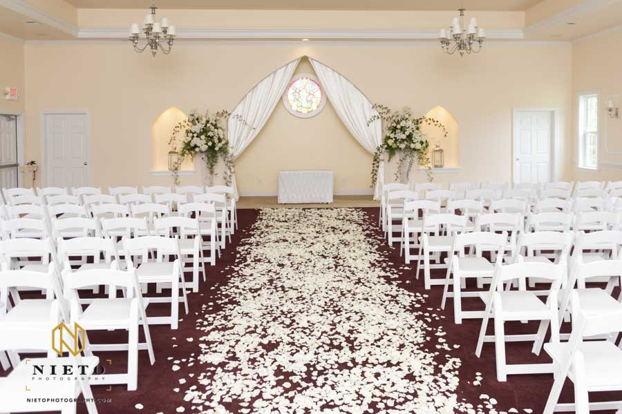 Hudson Manor chapel wedding covered in flower petals