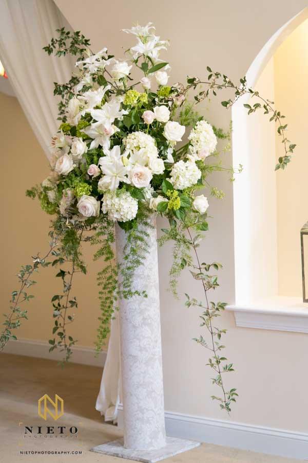 floral column inside the Hudson Manor chapel
