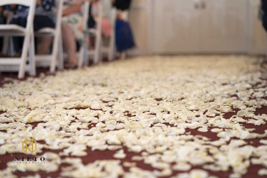 flower petals covering the floor in the Hudson Manor Chapel