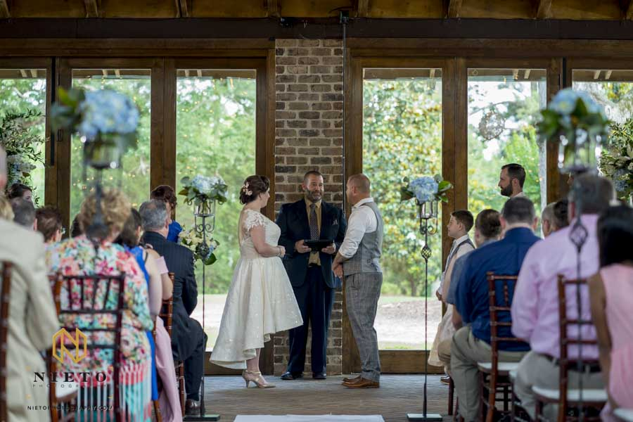 indoor pavilion ceremony shot of a summer Sutherland wedding