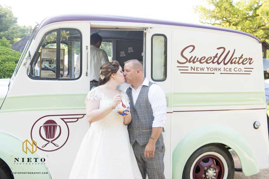 Summer Sutherland Wedding with sweet water Italian ice saving the bride and groom