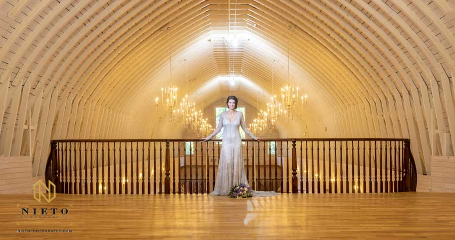 panorama shot of an interior Wakefield Barn Bridal Portraits
