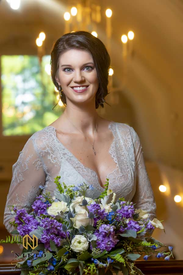 bride smiling for her Wakefield Barn Bridal Portraits