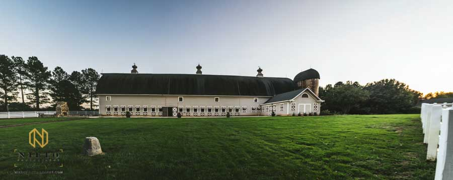 Panorama of the Historic Wakefield barn in Raleigh NC