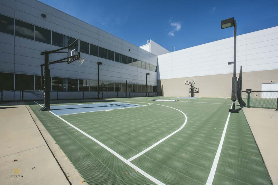 Real estate shot of a corporate basketball court