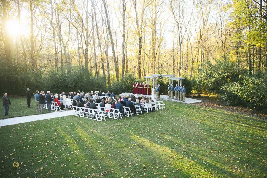 ceremony site at Cedar Grove Acres during a fall wedding