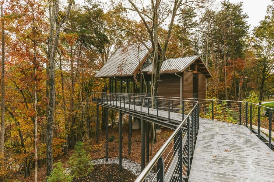 exterior shot of a corporate tree house retreat