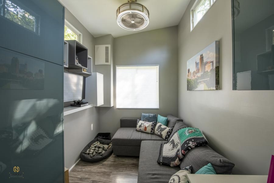 living room shot of a modern tiny home in Raleigh NC
