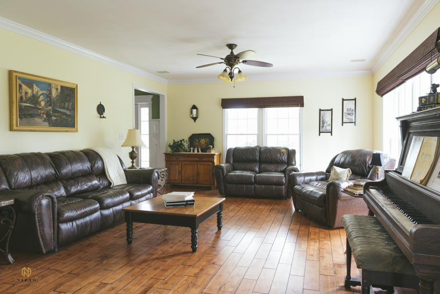 raleigh real estate house interior with leather furniture