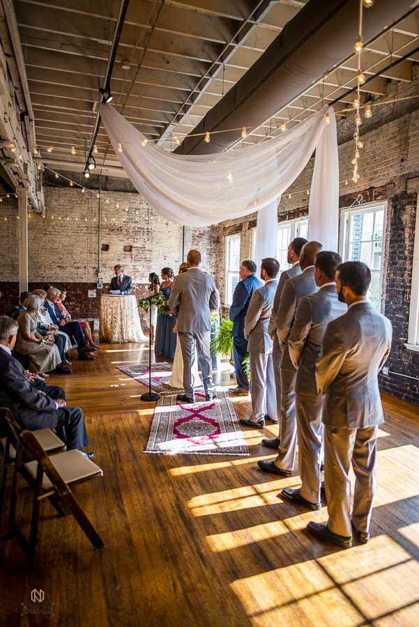 side view of a ceremony site at the Stock Room in Raleigh
