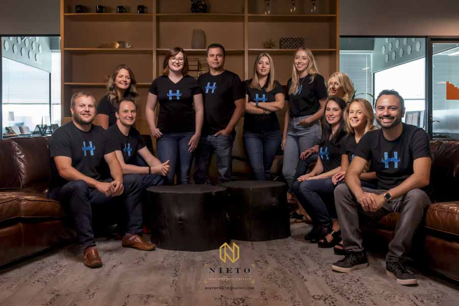 group headshot of a eCommerce company in downtown Raleigh