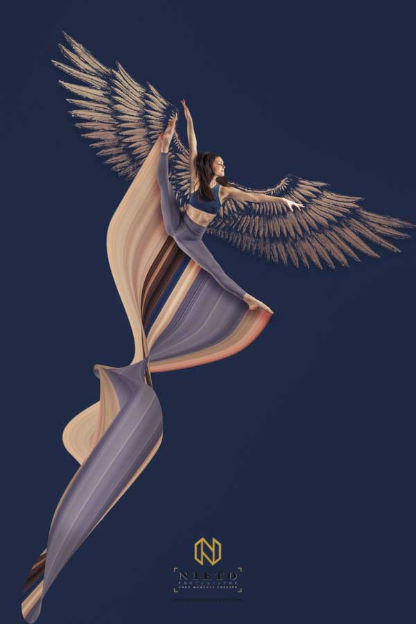 dancer jumping with angel wings