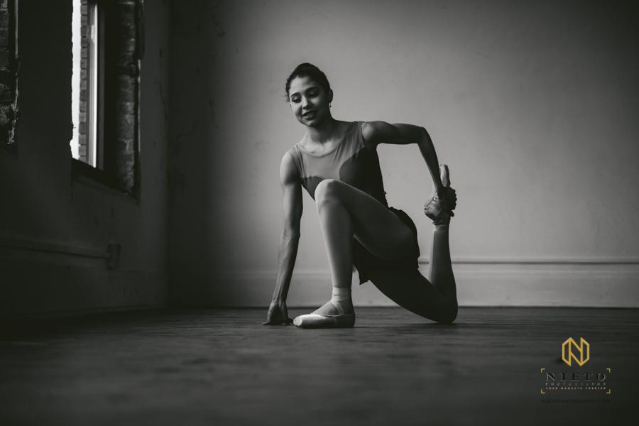 dancer posing for Nieto Photography Dance Warm Up series