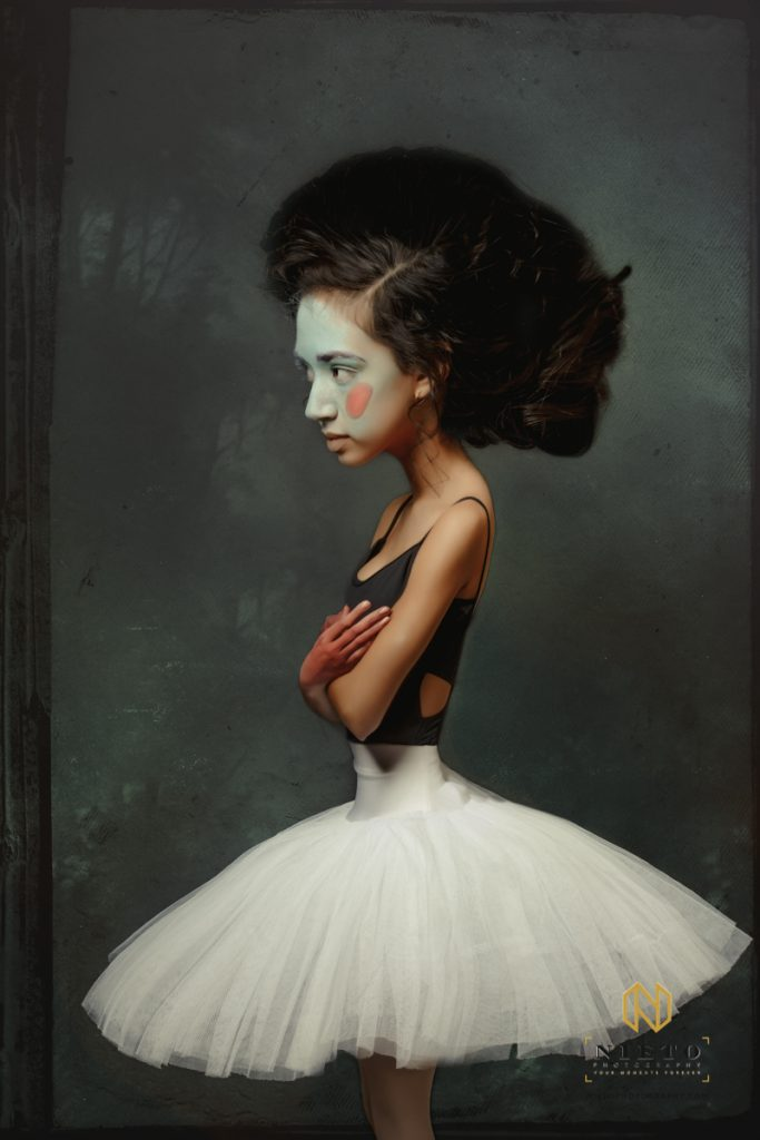 caricature of a ballerina in a white tutu looking annoyed